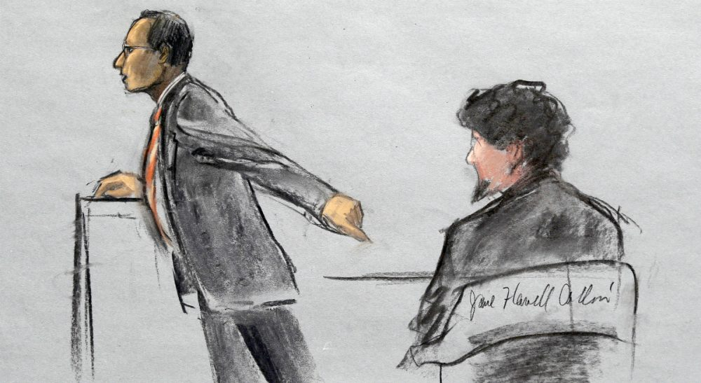 Considering the costs and systemic impacts of the death penalty, also known as the prosaic flip side of the debate. In this courtroom sketch, Assistant U.S. Attorney Aloke Chakravarty is depicted pointing to defendant Dzhokhar Tsarnaev, right, during closing arguments in Tsarnaev's federal death penalty trial Monday, April 6, 2015, in Boston. (Jane Flavell Collins/AP)