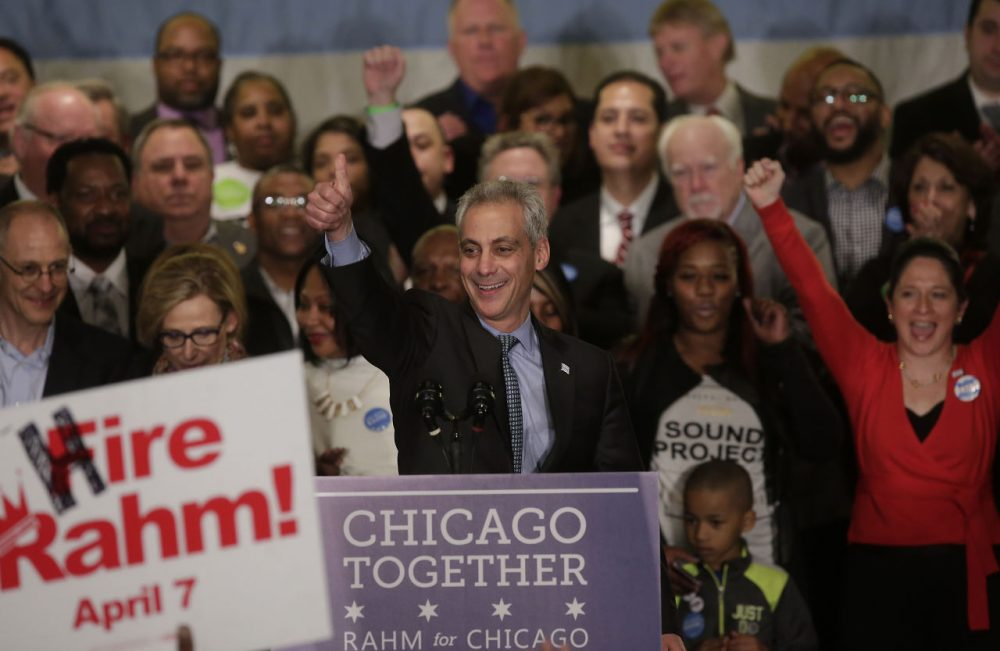 Rahm Emanuel gives the thumbs up during his victory speech after being re-elected Mayor of Chicago at his election night rally April 7, 2015 in Chicago, Illinois. Emanuel defeated Cook County Commissioner Jesus 'Chuy' Garcia in a run-off election, after Emanuel was unable to get a majority vote in February's general election. (Joshua Lott/Getty Images)