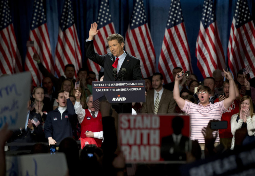 Sen. Rand Paul, R-Ky., announces the start of his presidential campaign as the audience cheers, Tuesday. (Carolyn Kaster/AP)