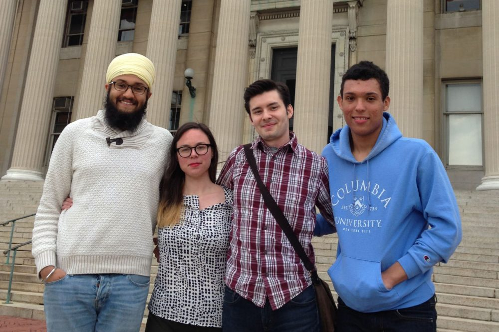 From left, Mandeep Singh, Toni Airaksinen, Andrew Lawson, Keenan Smith are pictured in front of the Columbia University library. Roxanne Padilla had to leave before the photo was taken. (Robin Young)