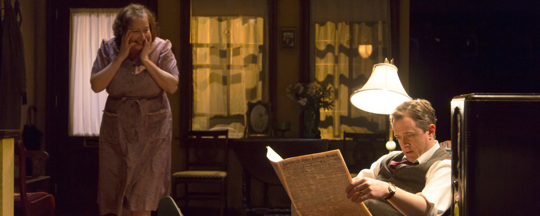 """Adrianne Krstansky as Lola and Derek Hasenstab as Doc in the Huntington Theatre Company's production of """"Come Back, Little Sheba."""" (T. Charles Erickson)"""