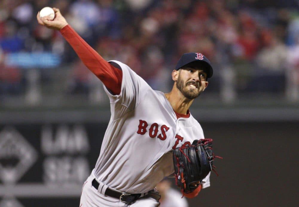 Boston Red Sox starting pitcher Rick Porcello throws during the third inning. (Chris Szagola/AP)