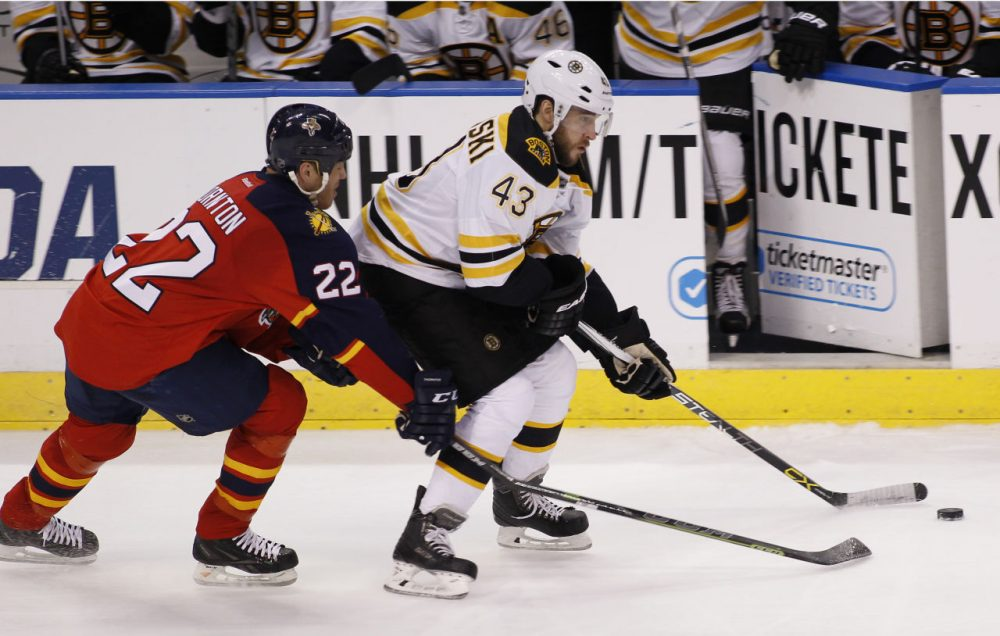 Florida Panthers right wing Shawn Thornton and Boston Bruins defenseman Matt Bartkowski chase the puck on Thursday, April 9, 2015, in Sunrise, Fla. The Panthers defeated the Bruins 4-2. (Terry Renna/AP)