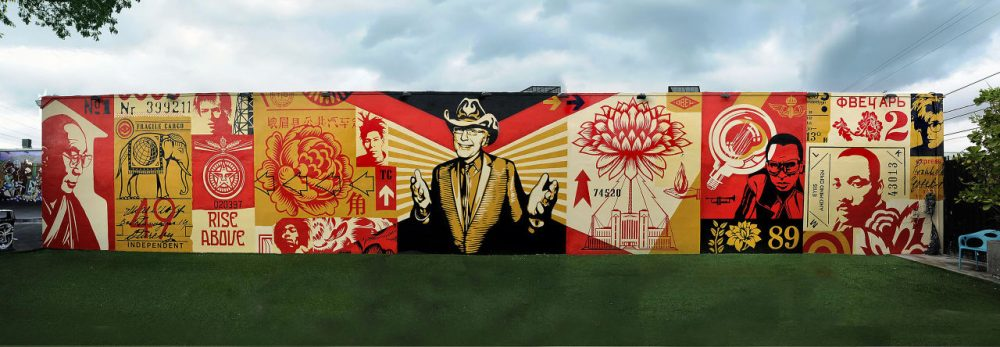 Shepard Fairey's Wynwood Walls mural in memory of developer and Wynwood visionary Tony Goldman was one of the pieces that inspired Justin Peck's new ballet, Heatscape. Fairey created the backdrop for the ballet. (Courtesy of Shepard Fairey/Obey Giant Art)