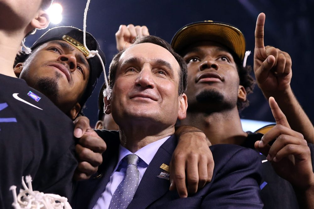 Duke head coach Mike Krzyzewski led the Blue Devils to a fifth National Championship. (Streeter Lecka/Getty Images)