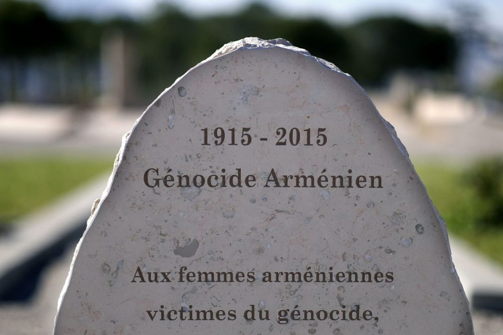A general view taken on April 14, 2015, shows the Armenian Genocide memorial dedicated to Armenian women in the southern French city of Marseille. The 100th anniversary of the start of the tragedy -- which Armenians trace back to the arrest of the leaders of the Armenian community in Istanbul on April 24, 1915 -- has been a matter of major concern for Turkey, with the government seeking to engage in offensive diplomacy. (Boris Horvat/AFP/Getty Images)