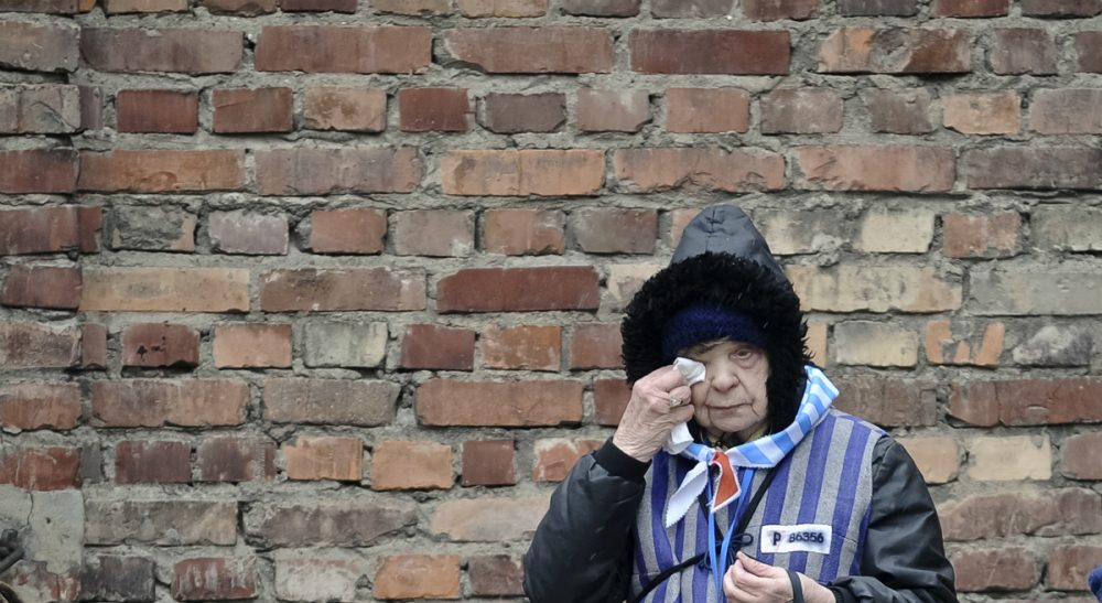 A reflection on why we study and remember the Holocaust. In this photo, a Holocaust survivor wipes her eye while standing outside a detention block of the Auschwitz Nazi death camp in Oswiecim, Poland, Tuesday, Jan. 27, 2015. (Alik Keplicz/AP)