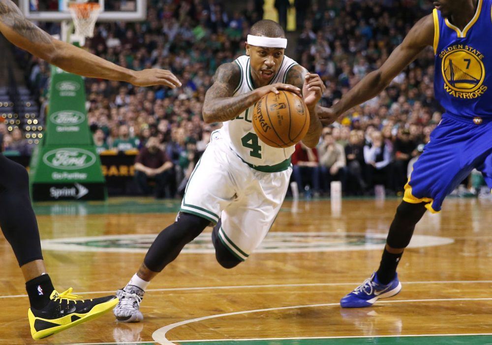 Celtics point guard Isaiah Thomas has been a boost for the team since arriving in a mid-season trade. (Winslow Townson/AP)