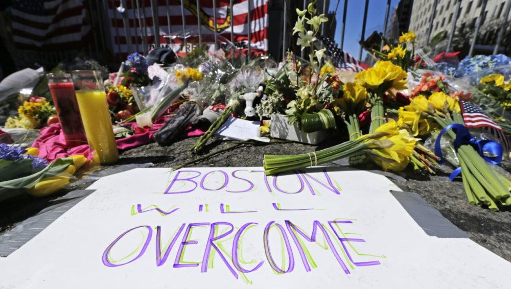 In this photo, a makeshift memorial is seen two days after the bombings. Boston will mark the second anniversary of the 2013 marathon bombings with a subdued remembrance that includes a moment of silence, the pealing of church bells and a call for kindness. (Charles Krupa/AP)