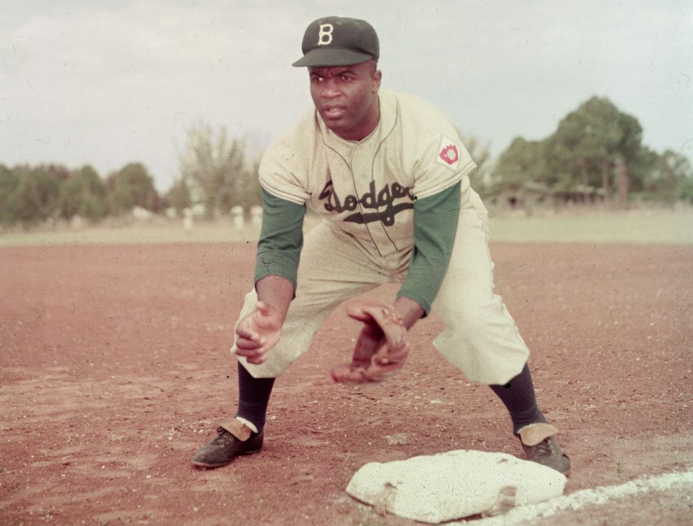 Jackie Robinson played 10 seasons for the Dodgers. He was a career .311 hitter, and was inducted into the Baseball Hall of Fame in 1962. (Keystone/Getty Images)