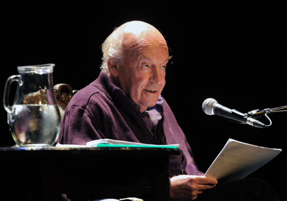 "Uruguayan writer Eduardo Galeano reads from his new book ""Los hijos de los dias"" (The sons of the days) at the Solis Theater in Montevideo on April 3, 2012. Galeano died in Montevideo on April 13, 2015 at the age of 74. (MIGUEL ROJO/AFP/Getty Images)"