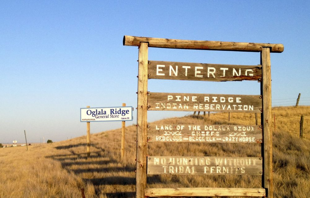 The entrance to the Pine Ridge Indian Reservation in South Dakota, home to the Oglala Sioux tribe, is pictured on Sept. 9, 2012. (Kristi Eaton/AP)