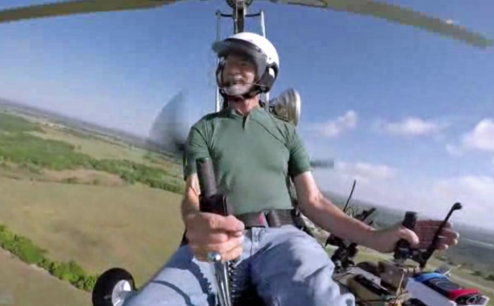 Doug Hughes is pictured in his gyrocopter in this screenshot from a Tampa Bay Times video.