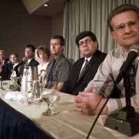 The McVeigh jury members address the media during a news conference in Denver, Colo., Saturday, June 14, 1997.  From right to left are: Roger Brown, Fred Clarke, Doug Carr, Diane Faircloth, James Osgood, Tonya Stedman, Mike Leeper, Ruth Meier, Jonathon Candelaria, Martha Hite and Vera Chubb. (Michael S. Green/AP)