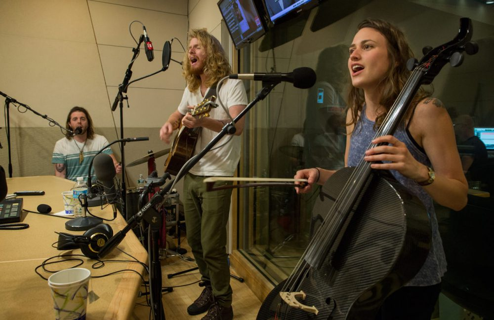 The Ballroom Thieves in the Radio Boston studio (from left to right: Devin Mauch, Martin Earley and Calin Peters). (Robin Lubbock/WBUR)