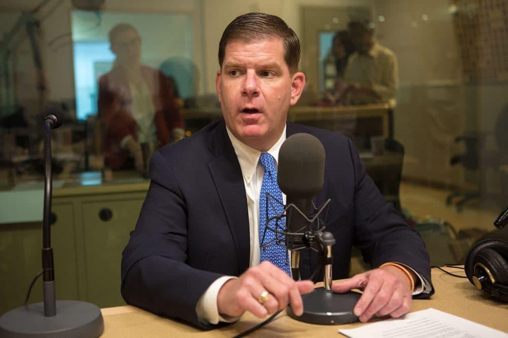 Boston Mayor Marty Walsh on Radio Boston. (Jesse Costa/WBUR