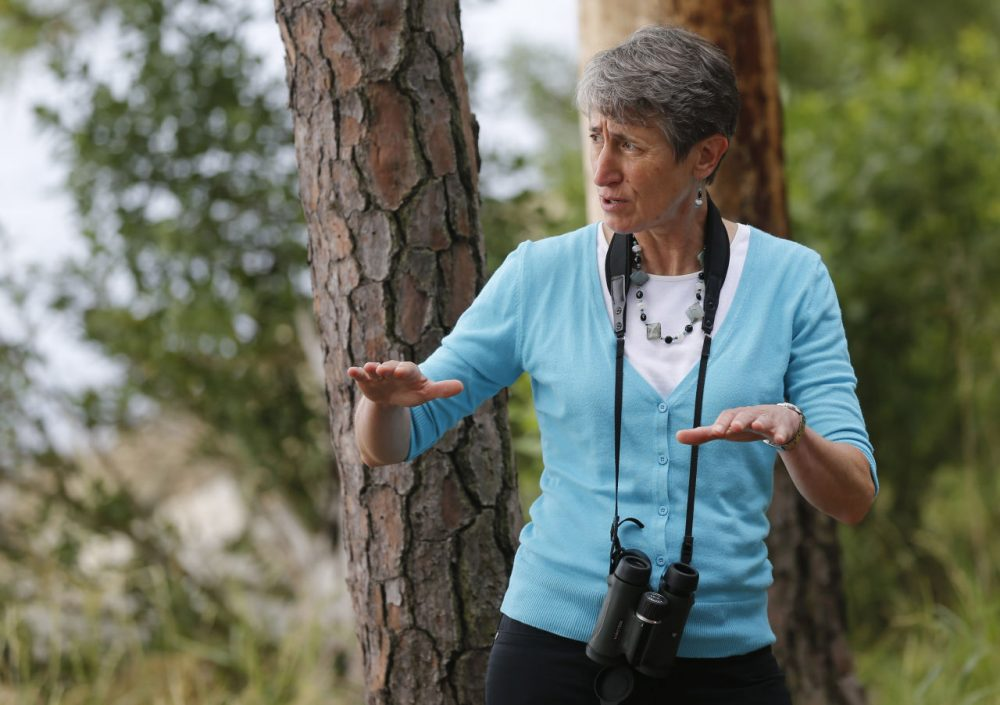 United States Interior Secretary Sally Jewell talks with park rangers during a tour of Jamestown Island in Jamestown, Va., Thursday, June 5, 2014. (Steve Helber/AP)