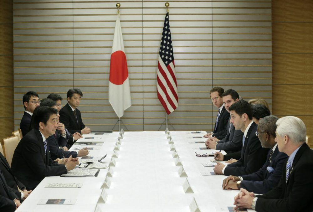 U.S. House of Representatives Ways and Means Committee Chairman Paul Ryan (third from right) talks with Japanese Prime Minister Shinzo Abe (third from right) on Trans-Pacific Partnership (TPP) and other issues at the start of talks at the latter's official residence in Tokyo in Tokyo on February 19, 2015. (Kimimasa Mayama/AFP/Getty Images)