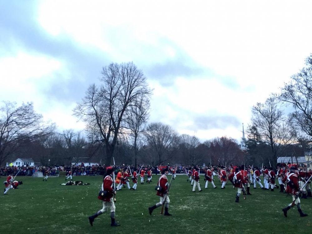 British regulars kill eight colonials in Lexington -- during a reenactment Monday morning. (Curt Nickisch/WBUR)