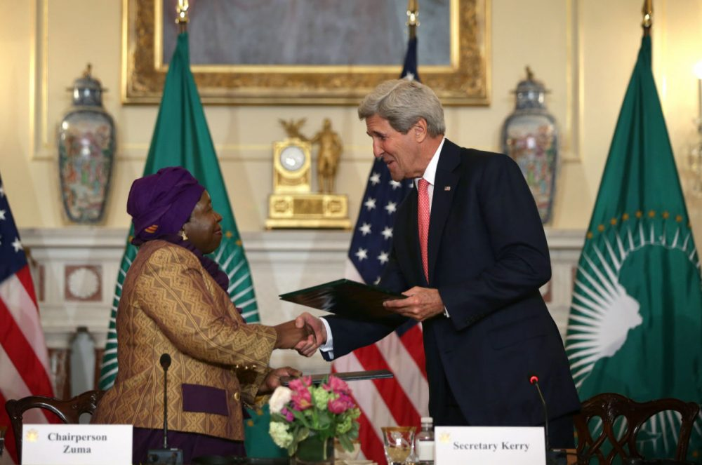 U.S. Secretary of State John Kerry (right) and African Union Commission Chairperson Nkosazana Dlamini Zuma shake hands during a signing ceremony of a Memorandum of Cooperation to Support the African Centres for Disease Control and Prevention during the opening of the African Union Commission High Level Dialogue April 13, 2015 at the State Department in Washington, D.C. Through the signing of the memorandum, the U.S. CDC will provide technical expertise to the African Union to support establishing an African Surveillance and Response Unit and an Emergency Operations Center within the African CDC. (Alex Wong/Getty Images)