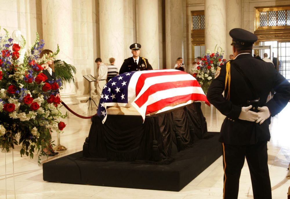 The casket bearing body of Chief Justice William H. Rehnquist lies in the Great Hall of the U.S. Supreme Court, in Washington, Tuesday, Sept. 6, 2005.  The casket rests on the Lincoln Catafalque, the platform that bore President Abraham Lincoln's remains following his death in 1865. (Manuel Balce Ceneta/AP)