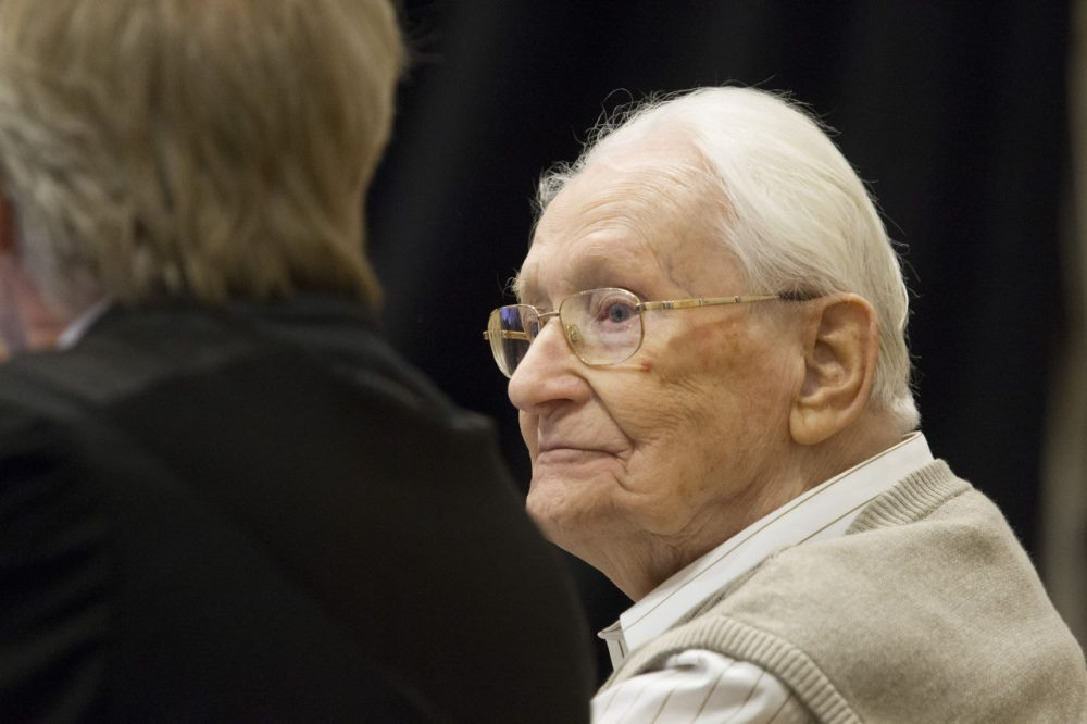 Oskar Groening, 93, arrives for the first day of his trial to face charges of being accomplice to the murder of 300,000 people at the Auschwitz concentration camp, April 21, 2015, in Lueneburg, Germany. Groening was an accountant with the Waffen SS and has been open about his role, claiming in interviews with media that he accepts his moral responsibility. Groening has also written an account of his experience, in what he claims is an effort to counter Holocaust revisionists. State prosecutors accuse Groening of accomplice in the murder of 300,000 Hungarian Jews who arrived at Auschwitz in 1944. (Andreas Tamme/Getty Images)