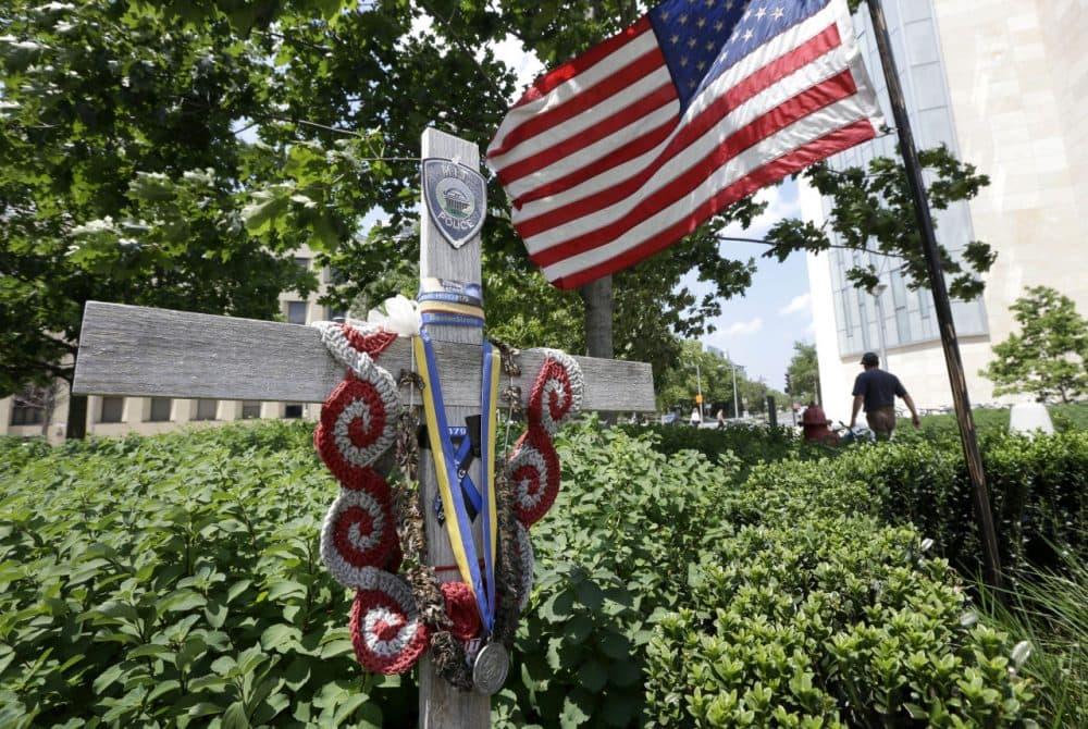 A makeshift memorial to slain Massachusetts Institute of Technology police officer Sean Collier. (AP)