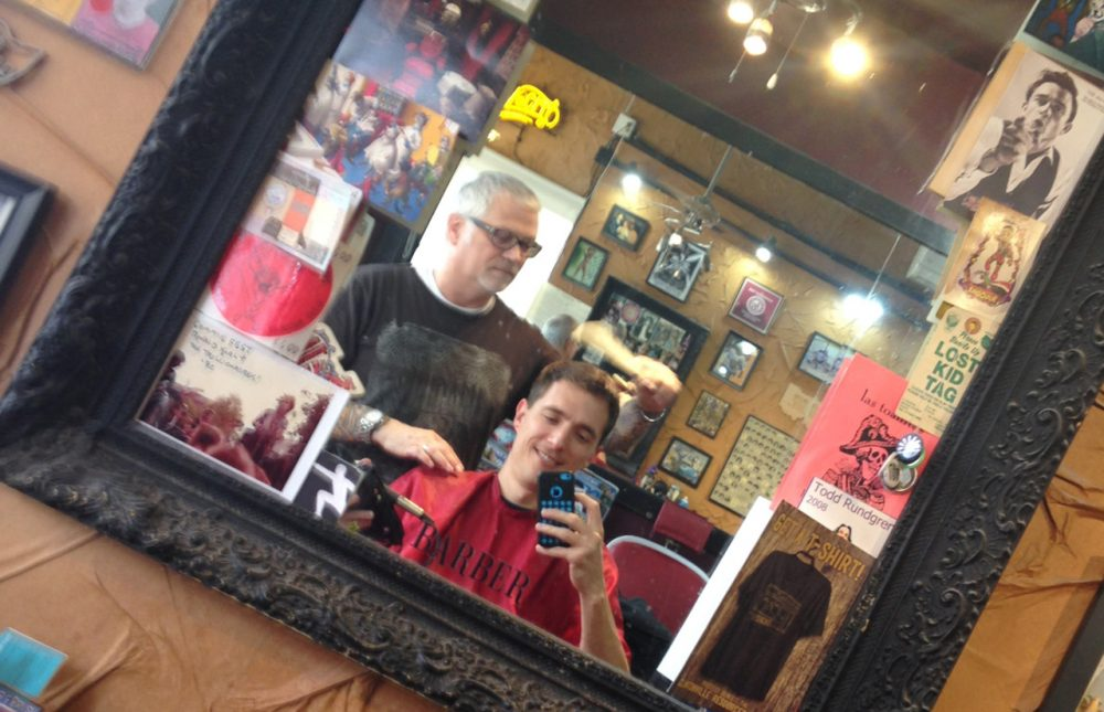 Peter gets a hair cut from Jim Morris in Columbus, Ohio. (Peter O'Dowd)