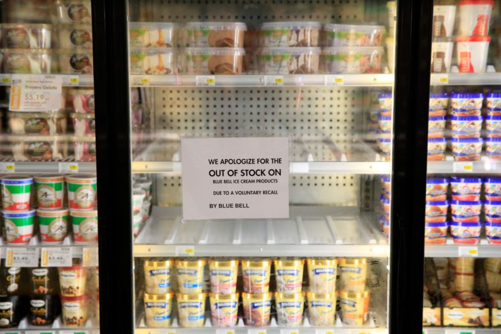 Shelves are bare and signs are posted where Blue Bell products were displayed in a grocery store on April 21, 2015 in Overland Park, Kansas. Blue Bell Creameries recalled all products following a listeria contamination. (Jamie Squire/Getty Images)