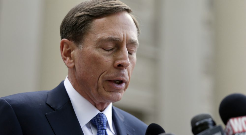 Former CIA director David Petraeus pauses as he speaks to the media as he leaves the federal courthouse in Charlotte, N.C., Thursday, April 23, 2015 after pleading guilty to sharing top government secrets with his biographer. Petraeus, whose career was destroyed by an extramarital affair with his biographer, was sentenced to two years' probation and fined $100,000 for giving her classified material while she was working on the book. (Chuck Burton/AP)