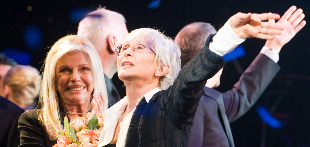 Nancy Sinatra (left) and Twyla Tharp appear at the curtain call for the opening night performance of the Broadway musical 'Come Fly Away' in 2010. (Charles Sykes/AP)