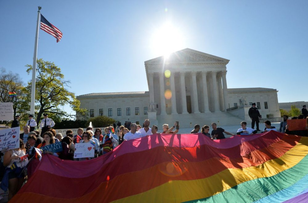 Supporters of same-sex marriages gather outside the U.S. Supreme Court waiting for its decision on April 28, 2015 in Washington, D.C. The U.S. Supreme Court is hearing arguments on whether gay couples have a constitutional right to wed -- a potentially historic decision that could see same-sex marriage recognized nationwide. (Mladen Antonov/AFP/Getty Images)