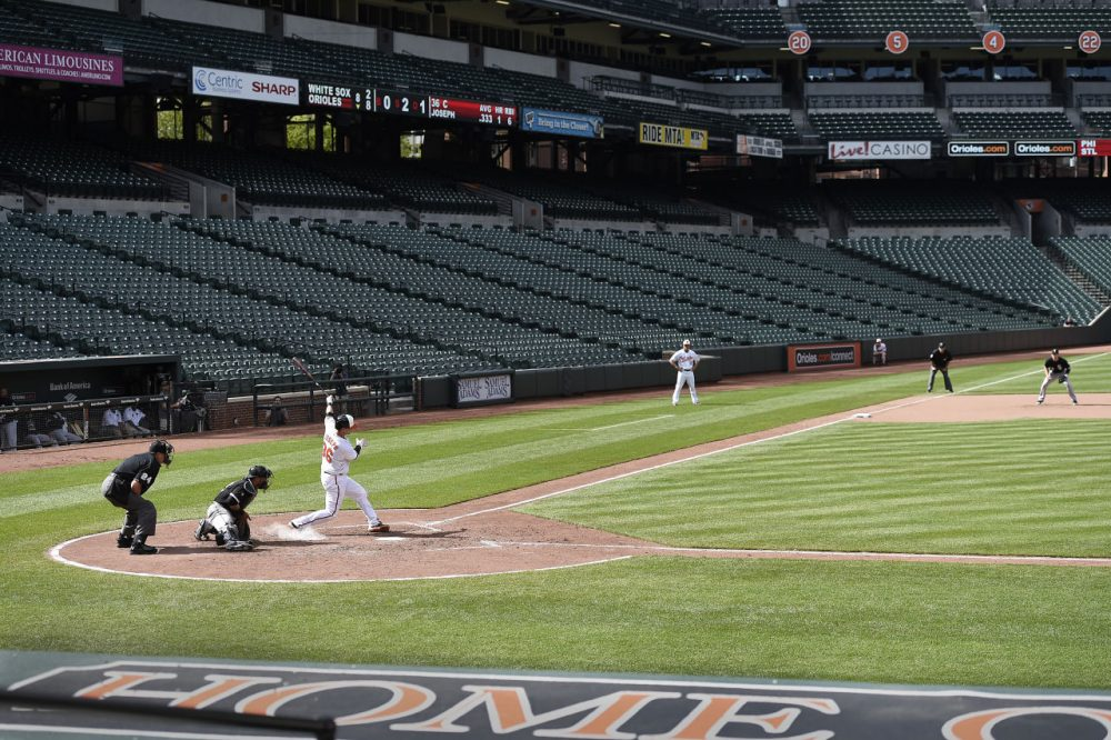 Baltimore Orioles' Caleb Joseph at bat against the Chicago White Sox in a baseball game, Wednesday, April 29, 2015, in Baltimore. Due to security concerns the game was closed to the public. (Gail Burton/AP)