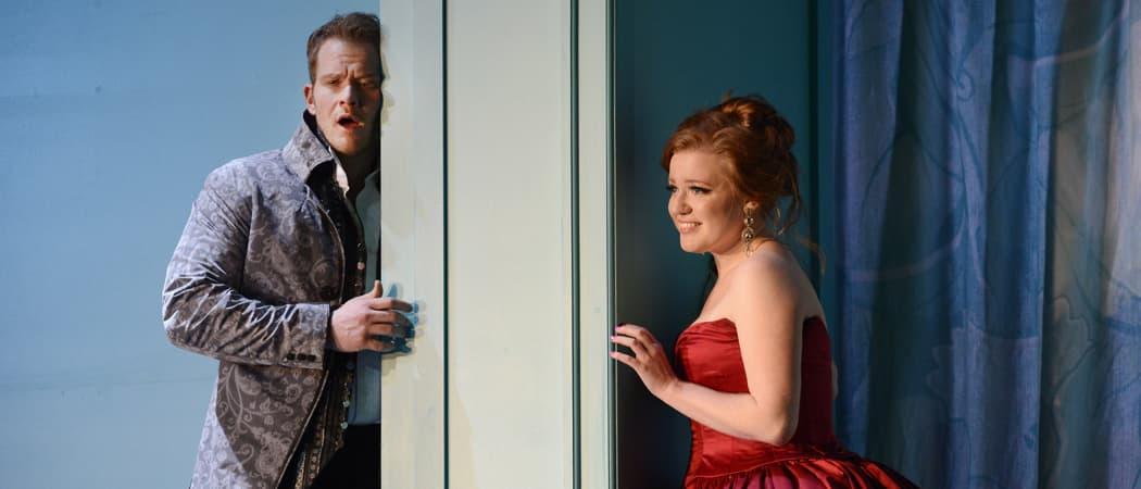 Don Giovanni (Duncan Rock) and Donna Elvira (Jennifer Cano) in the Boston Lyric Opera's latest production. (Eric Antoniou/Courtesy Boston Lyric Opera)