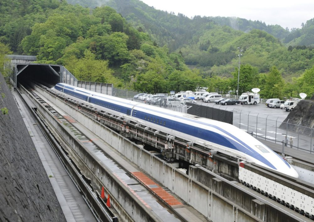 The Maglev (magnetic levitation) train speeds during a test run on the experimental track in Tsuru, 100km west of Tokyo, on May 11, 2010.  (Toru Yamanaka/AFP/Getty Images)