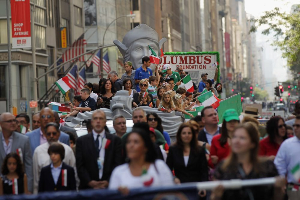 Marchers make their way down Fifth Avenue during the 67th annual Columbus Day Parade on October 10, 2011 in New York City. Angelo Vivolo is the president of the Columbus Citizens Foundation, which organizes the parade each year. (Spencer Platt/Getty Images)