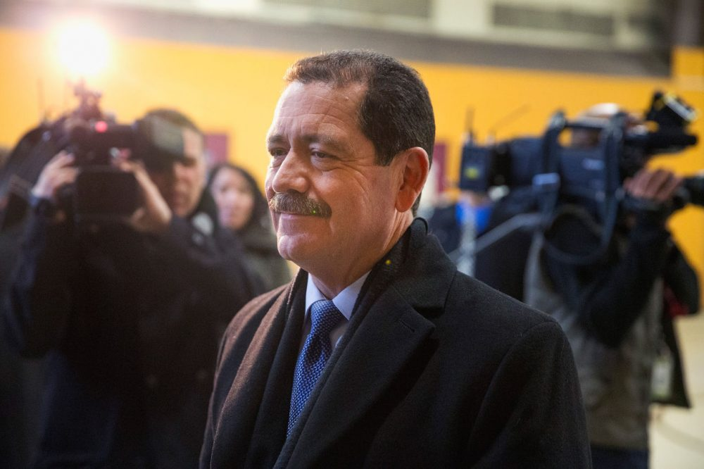 """Chicago mayoral candidate Jesus """"Chuy"""" Garcia arrives at his polling place to vote on election day February 24, 2015 in Chicago, Illinois. (Scott Olson/Getty Images)"""
