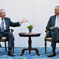 Cuba's President Raul Castro speaks during a meeting with U.S. President Barack Obama on the sidelines of the Summit of the Americas at the ATLAPA Convention center on April 11, 2015 in Panama City. (Mandel Ngan/AFP/Getty Images)