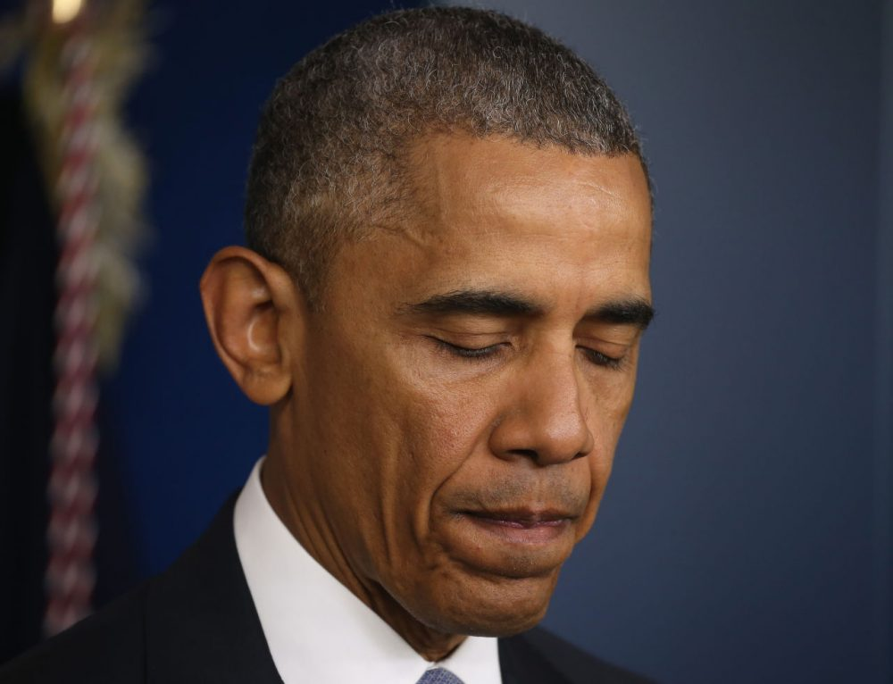 President Barack Obama makes a statement in the Brady Briefing room at the White House April 23, 2015 in Washington, DC.  President Obama talked about a US drone strike that targeted a suspected al Qaeda compound in Pakistan but inadvertently killed an American and Italian being held hostage by the group.  (Mark Wilson/Getty Images)