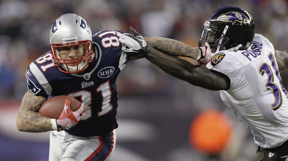 Former New England Patriots tight end Aaron Hernandez during the first half of the AFC Championship in 2012.  (AP Photo/Matt Slocum)