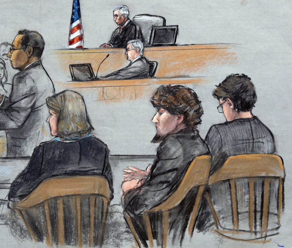The penalty phase of the trial of Boston Marathon bomber Dzhokhar Tsarnaev begins in this courtroom sketch. (Jane Flavell Collins/AP)