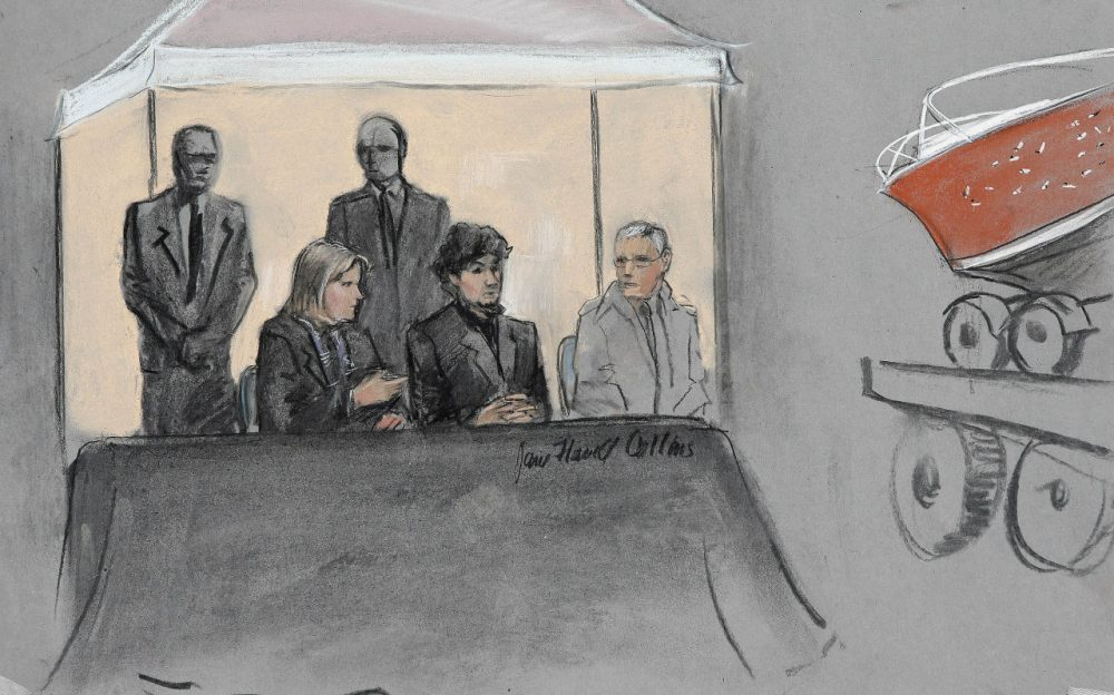 Dzhokhar Tsarnaev, admitted Boston Marathon bomber, faces 30 charges in court. (Jane Flavell Collins/AP)