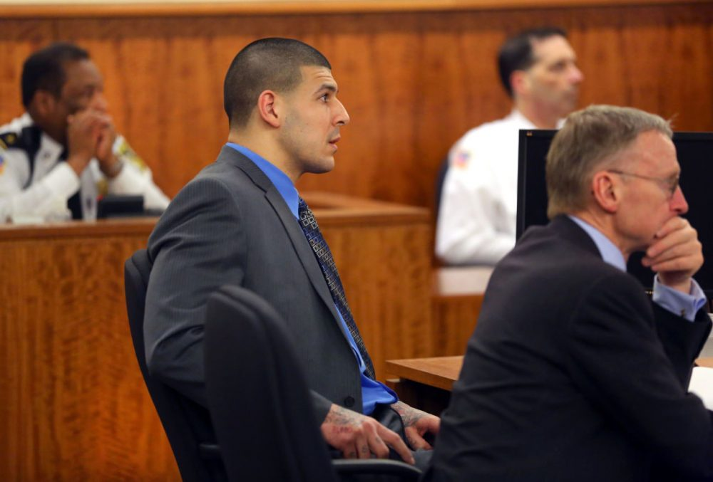 Aaron Hernandez listened as the judge gave jury instructions Tuesday in his murder trial. (John Tlumacki/The Boston Globe/Pool)