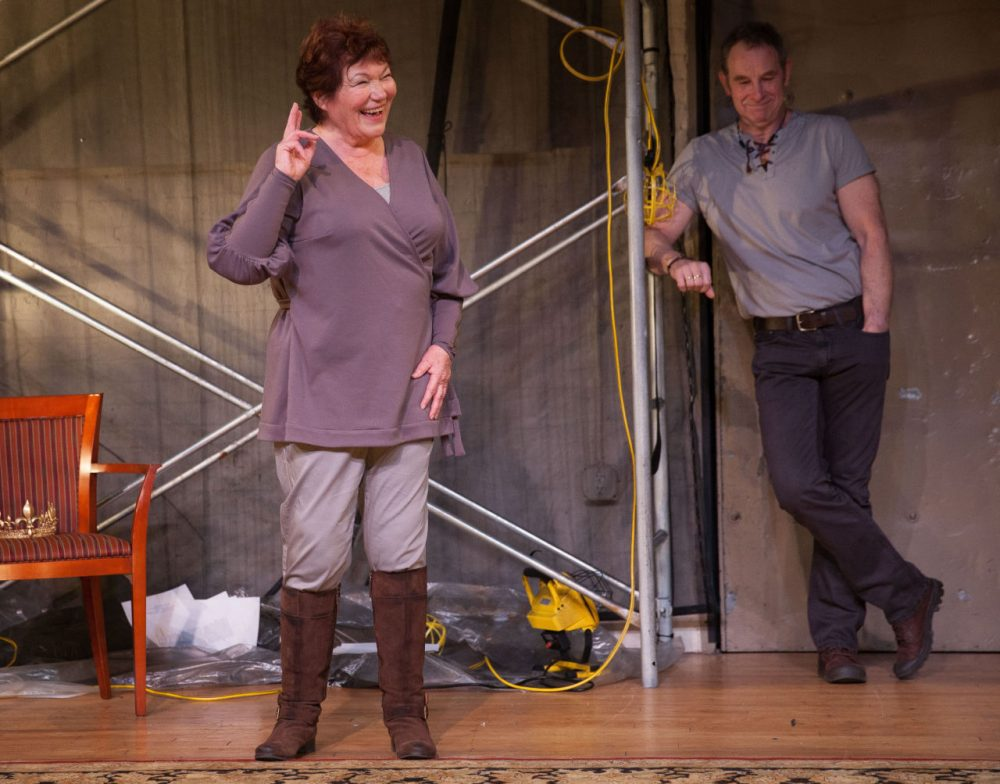 """Tina Packer and Nigel Gore, in a scene from Packer's """"Women of Will,"""" performing at The Gym at Judson in New York. (AP/Heller Highwater LLC, Matthew Murphy)"""