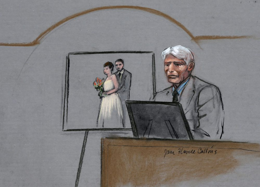In this courtroom sketch, William Campbell, Jr., father of Boston Marathon bombing victim Krystle Campbell, is depicted on the witness stand during the first day of the penalty phase in the trial of Dzhokhar Tsarnaev. (Jane Flavell Collins/AP)