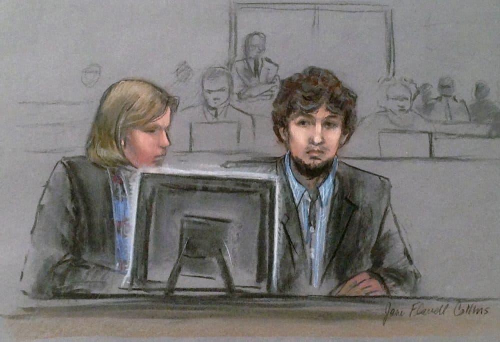 Dzhokhar Tsarnaev, right, with defense attorney Judy Clarke.  (Jane Flavell Collins via AP)