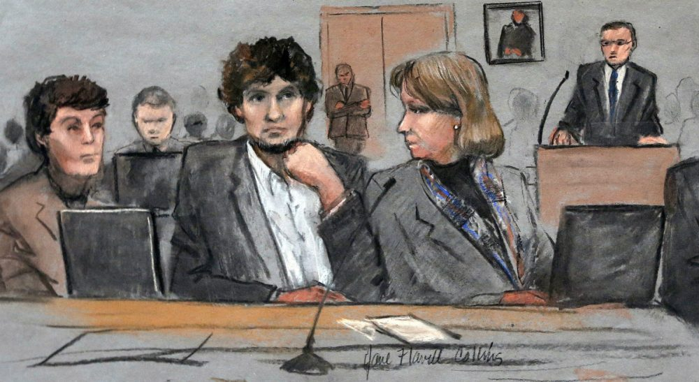 """Chris Daly: """"No matter what the cost, the trial was worthwhile. Its value cannot be measured in money alone."""" Pictured: In this March 5, 2015 file courtroom sketch, Dzhokhar Tsarnaev, center, is depicted between defense attorneys Miriam Conrad, left, and Judy Clarke, right, during his federal death penalty trial in Boston. On Wednesday, April 8, 2015, Tsarnaev was found guilty on all 30 counts against him. (Jane Flavell Collins/AP)"""