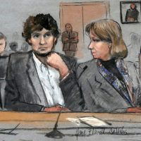 "Chris Daly: ""No matter what the cost, the trial was worthwhile. Its value cannot be measured in money alone."" Pictured: In this March 5, 2015 file courtroom sketch, Dzhokhar Tsarnaev, center, is depicted between defense attorneys Miriam Conrad, left, and Judy Clarke, right, during his federal death penalty trial in Boston. On Wednesday, April 8, 2015, Tsarnaev was found guilty on all 30 counts against him. (Jane Flavell Collins/AP)"
