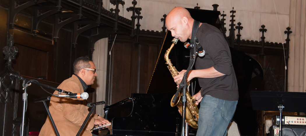 Danilo Pérez and Miguel Zenón in an improvised performance at JazzBoston's International Jazz Day concert. (Courtesy JazzBoston)