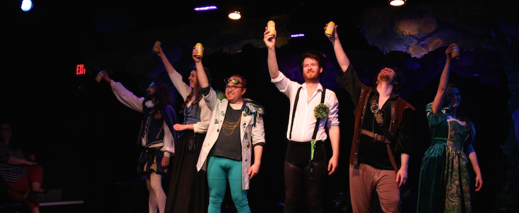 """The cast of """"S***-Faced Shakespeare"""" toasts the audience.  (Marc J. Franklin)"""
